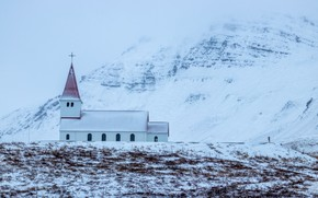 Картинка зима, снег, Исландия, Вик