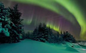 Картинка Небо, Ночь, Северное сияние