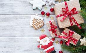 Картинка новый год, ветка, печенье, подарки, сосна, Olena Rudo