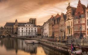 Картинка небо, закат, мост, река, дома, вечер, канал, Бельгия, Gent