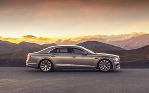 Картинка закат, Bentley, вечер, вид сбоку, Flying Spur, 2020, Blackline
