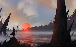 Картинка Закат, Рисунок, Силуэт, Воин, Пейзаж, Арт, Landscapes, Digital Art, TacoSauceNinja, by TacoSauceNinja, Searching the mudflats
