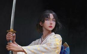 Картинка катана, кимоно, голубые глаза, серый фон, рукоятка, стойка, samurai, женщина-воин, by Yuhong Ding