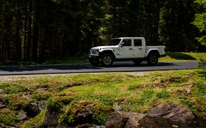 Картинка дорога, белый, движение, внедорожник, пикап, Gladiator, 4x4, Jeep, Rubicon, 2019