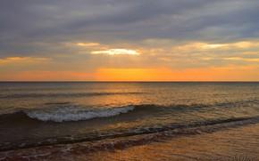 Картинка Sea, Волны, Sunset, Закат, Море