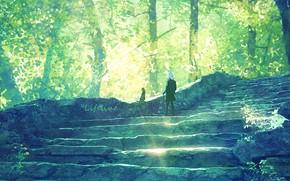 Картинка лес, кошка, девушка, лестница