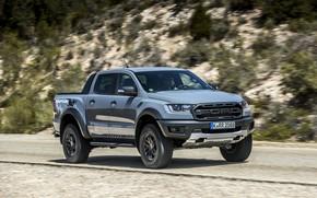 Картинка дорога, серый, растительность, Ford, склон, Raptor, пикап, Ranger, 2019