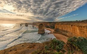 Картинка песок, море, волны, пляж, небо, облака, свет, скалы, рассвет, берег, растительность, даль, утро, прибой, кустики, …