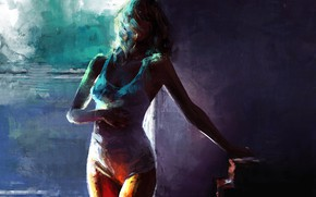 Картинка девушка, тело, штрихи