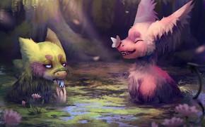 Картинка грусть, вода, бабочки, радость, цветы, купание, water, flowers, sadness, joy, butterflies, bathing, волшебные животные, сказочные …