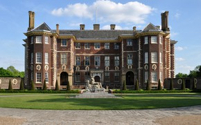 Картинка замок, Лондон, сад, скульптура, дворец, London, Ham House