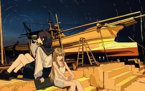 Картинка ночь, лодка, девочки