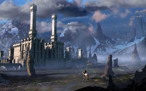Картинка небо, облака, горы, замок, скалы, лошадь, всадник, рыцарь, знамя