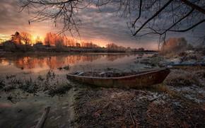 Картинка иней, осень, трава, пейзаж, ветки, природа, река, рассвет, лодка, утро, берега, тлен, Дубна, Андрей Чиж