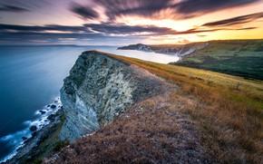 Картинка long exposure, Jurassic sunset, Gad Cliff, Dorset coast