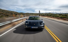 Картинка чёрный, Porsche, вид спереди, 2020, Taycan, Taycan 4S