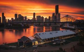 Картинка небо, закат, мост, река, дома, вечер, Австралия, зарево, небоскрёбы, Брисбен