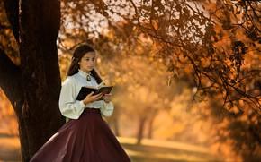 Картинка осень, девушка, ветки, природа, ретро, дерево, листва, юбка, девочка, наряд, блузка, книга, молодая, брошь, барышня