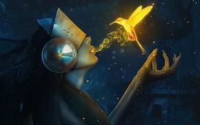 Картинка девушка, магия, колибри