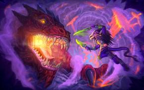 Картинка дракон, существо, клинки