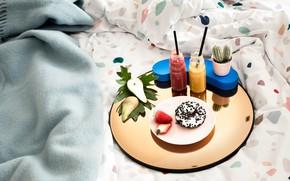 Картинка Цветок, Клубника, Напиток, Еда, Завтрак, Кактус, Пончик, Груша