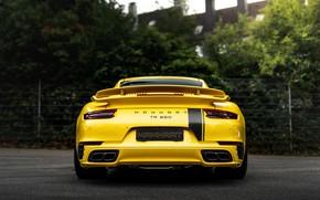 Картинка жёлтый, купе, 911, Porsche, 991, корма, Manhart, 911 Turbo S, 2020, 991.2, 850 л.с., TR …