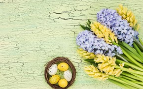 Картинка цветы, букет, желтые, yellow, flowers, eggs, easter, гиацинты, hyacinth