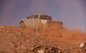 Картинка серый, Ford, пыль, Raptor, пикап, подъём, 2018, Ranger