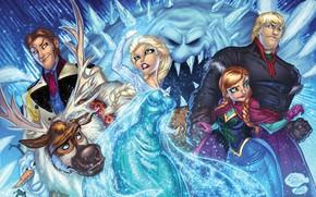 Картинка Frozen, Anna, art, Elsa, Olaf, Sven, Kristoff, Hans, Marshmallow