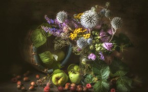 Картинка малина, яблоки, букет, фундук, мордовник