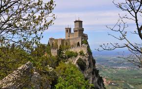 Картинка Скалы, Замок, Пейзаж, San Marino