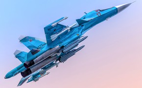 Картинка истребитель-бомбардировщик, Су-34, сверхзвуковой, ВКС России, Su-34, поколению 4++