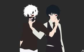 Картинка фон, минимализм, аниме, маска, арт, парень, Tokyo Ghoul, Токийский Гуль, Канеки Кен