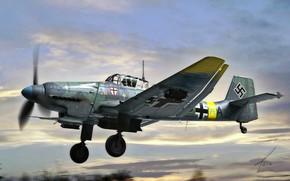 Картинка Бомбардировщик, Люфтваффе, Пикирующий бомбардировщик, Ju-87D, Junkers Ju 87 stuka