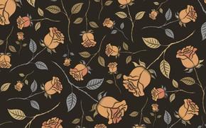 Картинка цветы, фон, розы, коричневый, бутоны