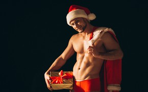 Картинка секси, лента, подарки, Новый год, мужчина, санта клаус, дед мороз, Happy New Year, Christmas, New …