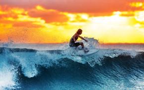 Картинка sunset, surf, men