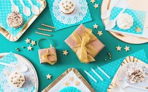 Картинка фон, голубой, подарки, десерт, декор, Cake, День Рождения, Birthday, Gift box