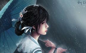Картинка девушка, дождь, зонт, Ebb and Flow