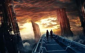 Картинка закат, мост, люди, фантастика