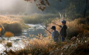 Картинка река, рыбалка, мальчики