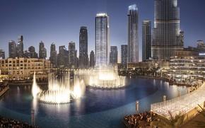 Картинка небоскребы, Дубай, фонтаны, ОАЭ