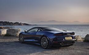 Картинка закат, побережье, McLaren, вечер, суперкар, 2019, McLaren GT