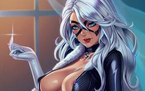 Обои грудь, девушка, маска, вор, marvel, black cat, Felicia Hardy
