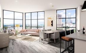 Картинка интерьер, кухня, гостиная, столовая, Tyndall, Downtown Austin