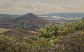 Обои 1925, Peder Mørk Mønsted, Петер Мёрк Мёнстед, View from Sindbjerg, Вид из Синдбьерга, датский живописец, ...