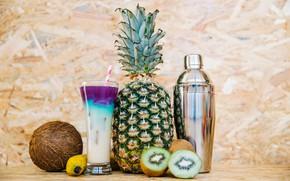 Картинка стакан, фон, кокос, киви, коктейль, трубочка, фрукты, ананас, банан, боке