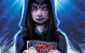 Картинка Комикс, Капюшон, DC Comics, Голубые глаза, Hood, Blue eyes, Комиксы, Crystal, Raven, Журнал, Рэйвен, Journal, …