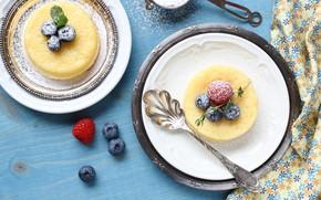 Картинка ягоды, черника, десерт, лимоны, сахарная пудра, суфле, лимонное