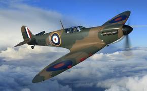 Картинка Истребитель, Spitfire, Supermarine Spitfire, RAF, Вторая Мировая Война